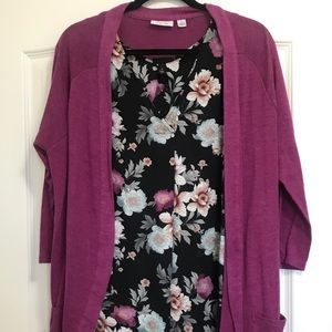 Torrid 1X Floral Tank and XL NY&Co Cardigan